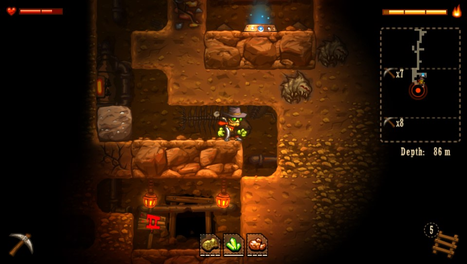 Even up to the possibility of player-created falling hazards, there's a lot of Boulder Dash in Steamworld Dig