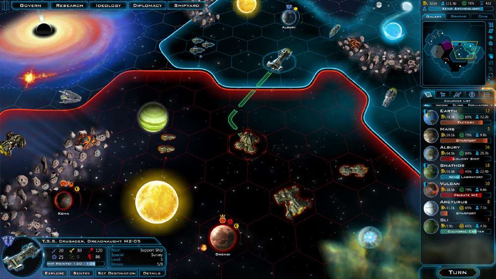 Galactic Civilizations III provides a litany of means to gain advantage over other players
